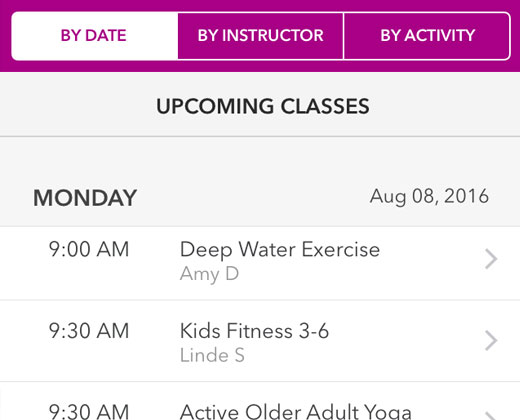 Search for fitness classes